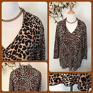 EUC Talbots Faux Wrap Leopard Print Blouse